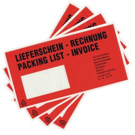 Dokumententaschen DIN-lang, Lieferschein/Rechnung, 250 Stück
